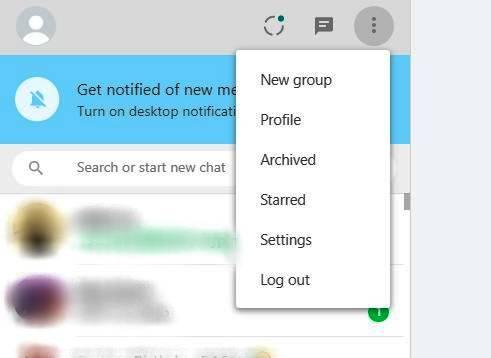 web whatsapp pc menu