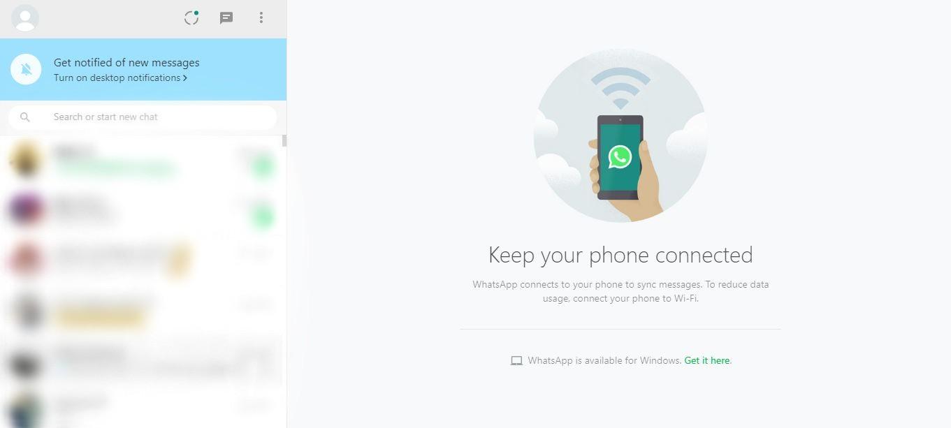 whatsapp-web PC user interface