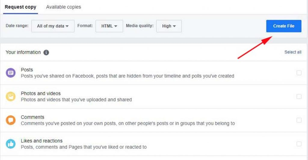 Create file of your facebook information